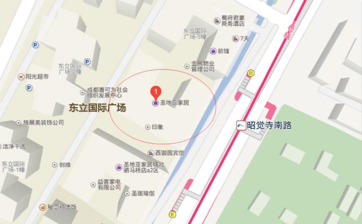 成都五幺装饰公司地理位置图片展示